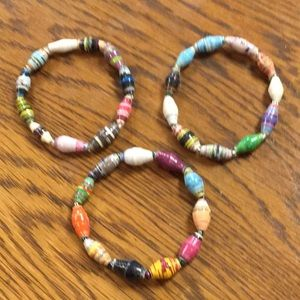 Paco Designs Jewelry - Beautiful African paper bracelets. Set of 3.